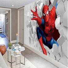 Custom Custom Animation 3D mural wallpaper warm living room bedroom children's room men Spiderman wallpaper for walls 3 d(China (Mainland))