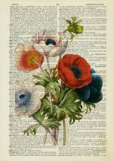 vintage anemone artwork printed on old page from by FauxKiss, Vintage Diy, Decoupage Vintage, Doodles Zentangles, Book Page Art, Book Art, Old Book Crafts, Newspaper Art, Dictionary Art, Art Journal Pages