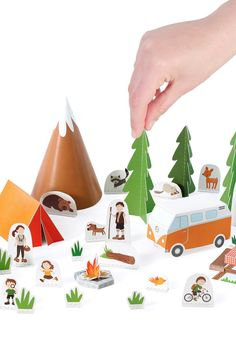 To cut, fold, glue, and tell a story.  PUKACA challenges you to go outside with this Camping Paper Toy!  Each kit contains 10 pages of High Quality 100% recycled paper. It has a 3D Paper Toy along with 15 characters, 6 trees and 15 extras - one is a mountain for your set. All you need is scissors and glue.  Assembled size 50 x 35 x 15 cm - 20 x 14 x 6 inch  Our paper toys are printed on 100% recycled paper thats easy to cut and solid for the task. They are all packed in crystal plastic and…