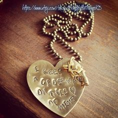 Hand Stamped Brass Necklace with I Keep A Close Watch On This Heart of Mine on Etsy, $22.00