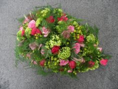 Druppel rouwstuk roze-lichtgroen