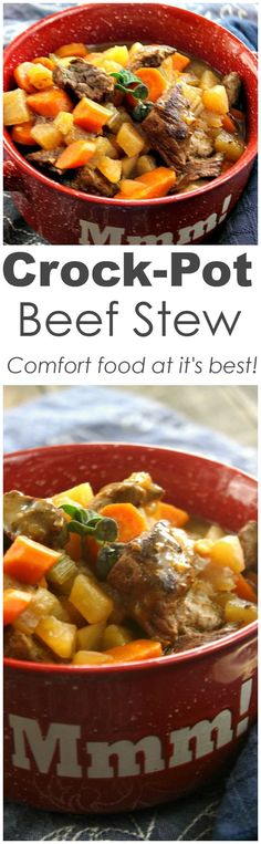 Crock-Pot Beef Stew - Warm up to a bowl of hearty Crock-Pot Beef Stew. Tender beef is simmered away in the slow cooker with carrots, onions, celery in a full of flavor stew. [recipe from http://CrockPotLadies.com]