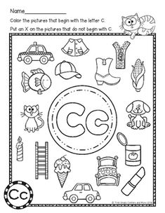 Beginning Sounds Color it Letter of the Week by First Grade Centers and Alphabet Sounds, Alphabet For Kids, Letter Sounds, Beginning Sounds Worksheets, Kids Math Worksheets, Alphabet Worksheets, Preschool Writing, Preschool Songs, Kindergarten Language Arts