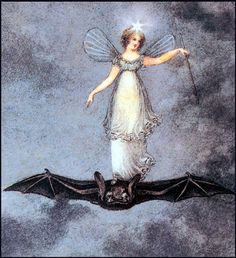 Amelia Jane Murray Lithograph On the Wings of a Bat-The Night Fairy; Bat's wisdom Creatures Of The Night, Magical Creatures, Art And Illustration, Fantasy Kunst, Fantasy Art, Vintage Fairies, Wow Art, Fairy Art, Troll