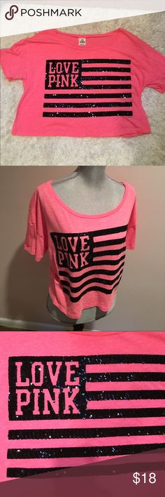 sparkle Pink crop top   In guc, no stains or rips. 60% cotton, 40% polyester. Smoke and pet free home. PINK Victoria's Secret Tops Tees - Short Sleeve