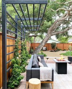 """Yardzen   Online Landscaping on Instagram: """"We couldn't be more excited about @kismet_house's backyard renovation! It's coming along so beautifully—swipe through to see some """"in…"""" Pergola With Roof, Outdoor Pergola, Diy Pergola, Outdoor Decor, Pergola Shade, Pergola With Lights, Cozy Backyard, Backyard Landscaping, Backyard Ideas"""