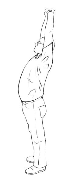 3. Back extension. Hold the stretch for 10 seconds. Repeat 3 times.