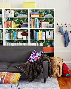 Bookcase wallpaper and cute living room storage