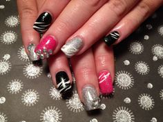 Gel nails, black, pink, silver glitter, zebra, rhinestones