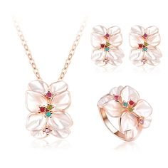 Hot Sale Jewelry Set Rose Gold Plated Austrian Crystal Enamel Earring/Necklace/Ring Flower Set Choose Size of Ring ST0002-A