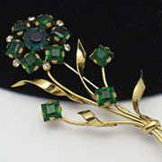 Vintage Rare STERLING CRAFT By CORO Emerald Green 1942 Floral Brooch  http://www.rubylane.com/shop/atouchofrosevintagejewels/ilist/,id=0.html
