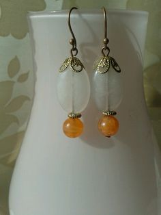 """Earrings """"Jade and Carneool"""" made by Tanja klaassen for BlinQBlinQ.nl"""