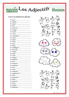 Teaching 299207968971188609 - Masculin/Féminin des Adjectifs Source by French Language Lessons, French Language Learning, French Lessons, French Expressions, French Teacher, Teaching French, How To Speak French, Learn French, French Adjectives