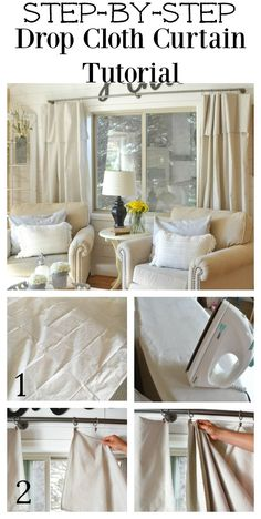 Step by Step Drop Cloth Curtain Tutorial - Curtains Farmhouse Curtains, Farmhouse Decor, Modern Farmhouse, Farmhouse Design, Farmhouse Table, Curtain Tutorial, Diy Curtains, Drop Cloth Curtains Outdoor, Bedroom Curtains