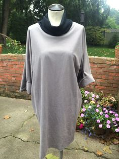 Vintage Gray Faux Suede Highl Neck Dress/Tunic #SproutsbyVickyVaughn