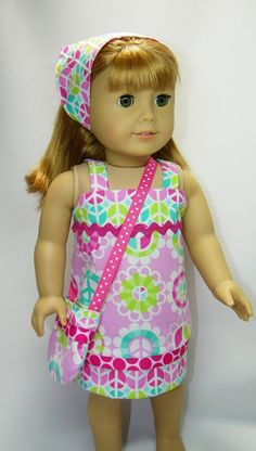 American girl doll dress with peace signs by CindyrellasCloset