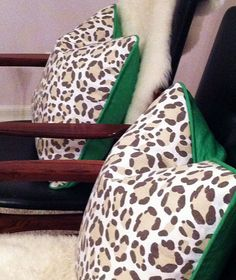 LOVE these Kelly green & animal print cushions!