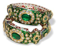Indian Maharajas Royal Jewels -  India (Rajasthan), Kundan Bangles, emeralds/diamonds/enamel/gold, c. 20th c.