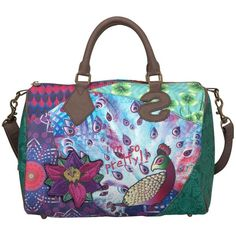 Desigual Bowling Print Handbag, Purple ($75) ❤ liked on Polyvore
