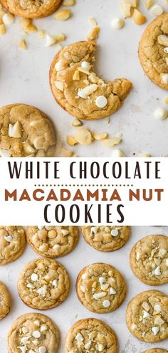 I am absolutely obsessed with these delicious homemade white chocolate macadamia nut cookies! They havea slightly crisp exterior and a soft and chewy center with the most incredible sweet, buttery, toasty flavor. An easy and impressive cookie recipe that will have everyone coming back for seconds! Best White Chocolate, White Chocolate Macadamia, White Chocolate Chip Cookies, Baking Recipes, Cookie Recipes, Macadamia Nut Cookies, Yummy Snacks, Yummy Food, Eat Dessert First