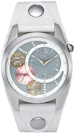 Fossil Women's Mechanical ME1082 White Leather Analog Quartz Watch with Grey Dial