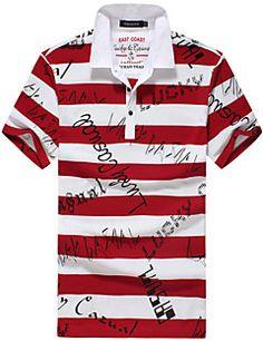 Polo De los hombres Casual A Rayas - Algodón/Sarga - Manga Corta Polo Shirt, Mens Tops, Shirts, Fashion, Stripes, Men's Clothing, Men, Moda, Polos