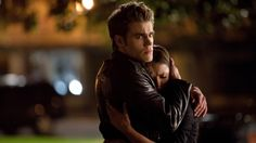 Stefan and Elena hug.