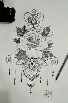50 Eye-Catching Lion Tattoos That'll Make You Want To Get Inked Tattoo Ideen Mandala Floral Flower Rose Tattoo Zeichnung Blumenze Neue Tattoos, Arm Tattoos, Flower Tattoos, Body Art Tattoos, Tattoo Drawings, Sleeve Tattoos, Underboob Tattoo, Tattos, Rose Drawings