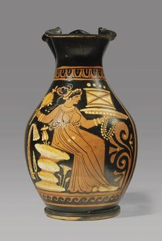 ITALIOTE RED-FIGURE OINOCHOE (CHOUS):       DATE:  5th Century BC  CULTURE:  South Italian    MEDIUM:  Terracotta