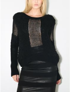 Avelon Shred Sweater - black found at OAK trending on Wallabii. Connect with your friends while you shop trendy fashion. Get their advice, share and shop the latest styles with confidence. Knit Fashion, Trendy Fashion, Fashion Outfits, Women's Fashion, Creative Knitting, Knit Wrap, Knitting Designs, Knitting Ideas, Knitting Wool