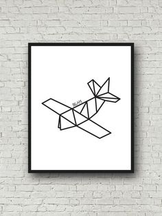 Airplane Origami Print Geometric Decor by PrintablePosterMaker