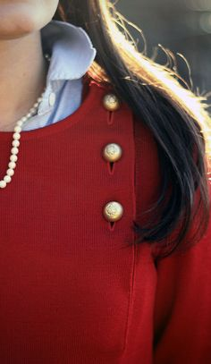 cable knit with buttons + oxford + pearls = prepfection