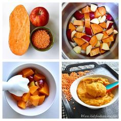 Apple, red lentils & sweet potato baby food purée suitable from 6 months l Baby Food Recipes 6-9 months