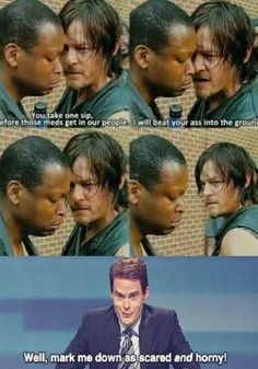 The Walking Dead Daryl Dixon. He be hot. Walking Dead Funny, Walking Dead Zombies, Walking Dead Season 4, Fear The Walking Dead, Daryl Dixon Memes, Twd Memes, Stuff And Thangs, Dead Man, Norman Reedus