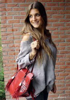 That BAG!!!!-Shoulder Cut Out Sweater - Grey - Super Comfy V Neckline Sweater