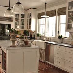 Pretty little farm house kitchen. Colors and layout. But different lights, please!!!!