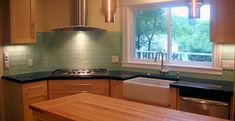 Frosted Sage Green Glass Subway Tile Kitchen Backsplash - Natural kitchen with modern flair
