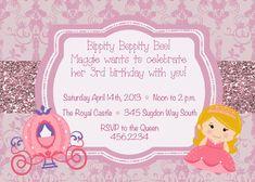 Princess Birthday Invitation pink and by KMCustomCreations