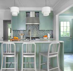 Suzie: Mark Williams Design - Green kitchen cabinets, gray & black glass tiles backsplash, ...