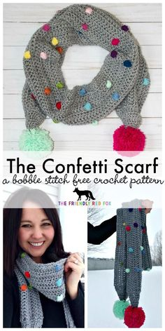 Confetti Scarf by The Friendly Red Fox  This is so much fun! And its a FREE crochet pattern too! Get the link to this pattern and more at Hookin' on Hump Day. #crochet #fiber