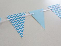 Aqua Blue Chevron Pennant Banner...perfect shower or party decoration, photo prop, etc.!