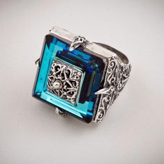 Dimitrios Exclusive 178 ~ Sterling Silver and Swarovski - Medieval Byzantine Ring by CultureTaste