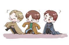 They look so cute uwu Tao Exo, Exo Xiumin, Exo Cartoon, Baekhyun Fanart, Exo Anime, Kpop, Kid Movies, Cute Chibi, Chanbaek