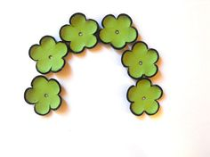 Green cabochon flowers Leather flowers by HMCreativeSupplies, $5.99