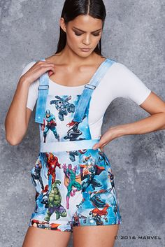 XL Avengers Assemble Short Overalls by black milk clothing Summer Outfits, Casual Outfits, Casual Clothes, Marvel Fashion, Disney Outfits, Disney Clothes, Black Milk Clothing, Harajuku Fashion, Printed Leggings
