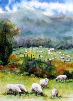 Grazing... - by Monique Robert  <> (watercolor, sheep, summer, illustration)