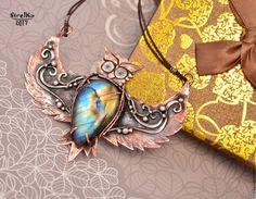 Купить Кулон Сова - коричневый, wire wrap, wrap, wire, strelka, подарок, авторское украшение
