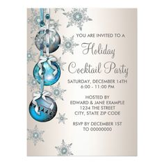 Shop Teal Blue Snowflakes Ornaments Christmas Party Invitation created by decembermorning. Greeting Card Size, Holiday Greeting Cards, Xmas Cards, Christmas Cocktail Party, Christmas Holiday, Christmas Ideas, Christmas Events, Cottage Christmas, Christmas Parties