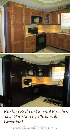 Check out this refinished kitchen in Java Gel Stain. Says ...