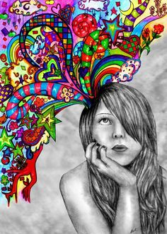 drawing of girl with colorful thoughts / dreams - ART